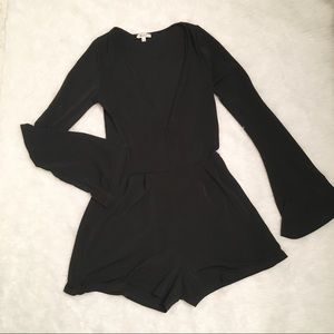 Brandy Melville Black Bell Sleeve Shorts Romper S